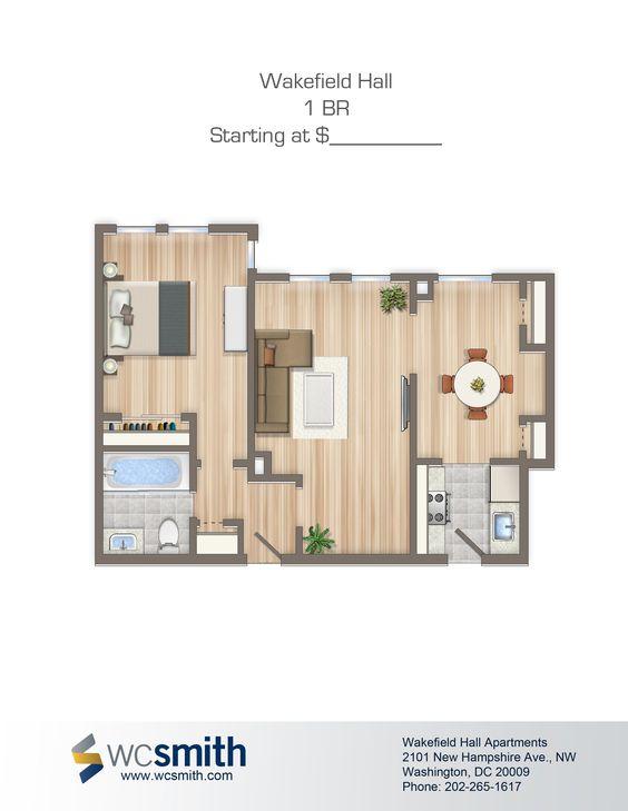 one bedroom floor plan wakefield hall in northwest washington dc