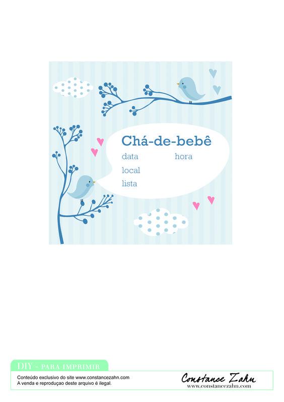 Convite Chá de Bebê Pássaros Rosa