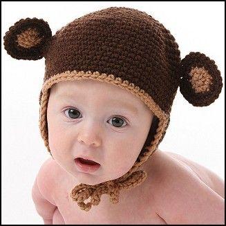 Lil Monkey Hat - Crochet Sizes 3-12mths