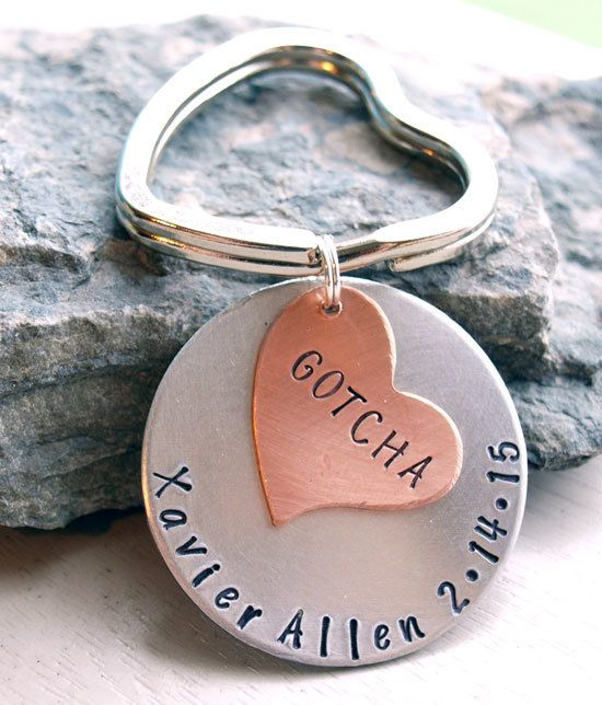 Gotcha Day Adoption Key Chain Personalized Hand by VandieDesigns