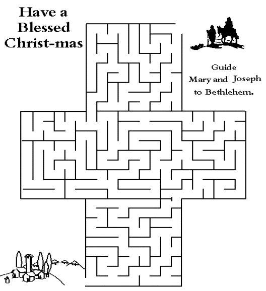 Maze: Help guide Mary and Joseph to Bethlehem