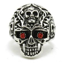 Newest Style Red Stone Eyes Silver Skull Ring 316L Stainless Steel Jewelry(China (Mainland))