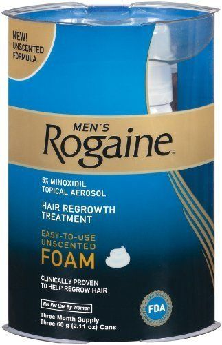 Rogaine for Men Hair Regrowth Treatment  Easy-to-Use Foam  2.11 Ounce  (3 month supply): Men's Rogaine Extra Strength 5% Minoxidil Topical Foam Hair Regrowth Treatment. Click Image For more Details