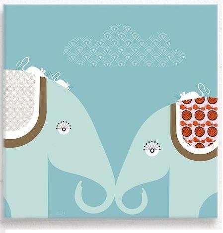 Horace and Albertina elephant bright canvas wall art £45 Hippins ...