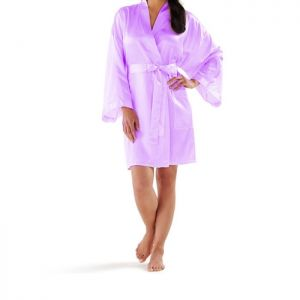 "Soft Satin Robe. Soft Satin Bathrobes are exquisitely made out of the finest satin fabric. It is soft, comfortable, as well as very lightweight and breathable. These elegant and delicately soft feminine robes are perfect for a bridesmaid robe, wedding parties and for getting ready at home. Both lightweight and fluid, our robes also make for an ideal gift and are available in five beautifully soft colors.    Small - length 36"" width 46"" Large - length 36"" width …"