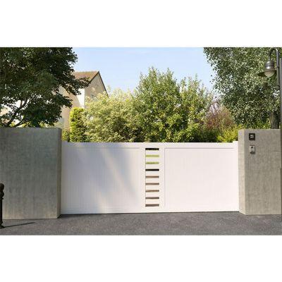 Portail Coulissant Pvc Cassis Blanc 350 X H 150 Cm Portail Coulissant Portail Decoration Exterieur