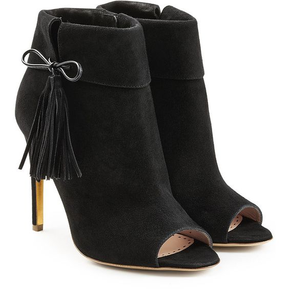Rupert Sanderson Tinsel Suede Open Toe Ankle Boots (810 CAD) ❤ liked on Polyvore featuring shoes, boots, ankle booties, black, black fringe boots, black suede boots, open toe booties, fringe booties and short black boots