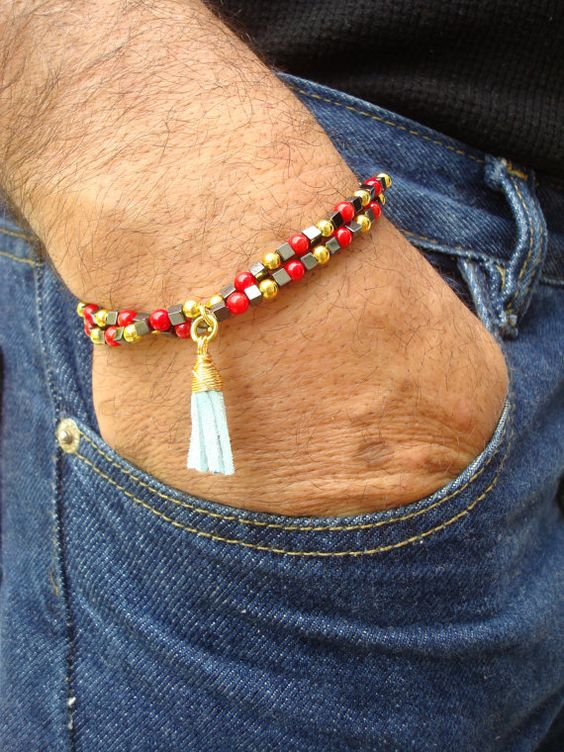 Men's Spiritual Protection Bracelet with Leather Tassel Charm, Hematite, Red Coral, and Brass - Bohemian Man Bracelet