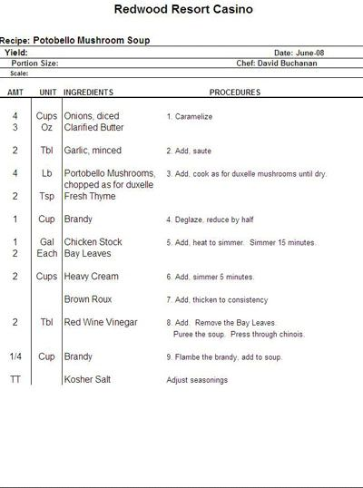 Chef's Shorthand Recipe Template by Chefs Resources http://bit.ly ...