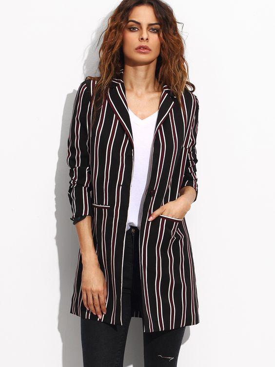 Shop Multicolor Striped Lapel Pockets Long Blazer online. SheIn offers…