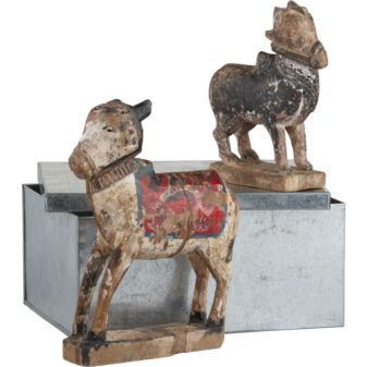 """gais vintage toys - This charming pair of vintage wooden toys, discovered in the Rajasthan and Gujarat regions of India, depicts the sacred gais (""""cow""""), a Hindu symbol of wealth dating back to the Vedic period (1500–900 B.C.)."""