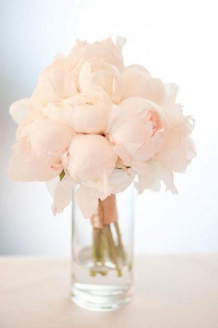 simple light pink peony wedding centerpiece