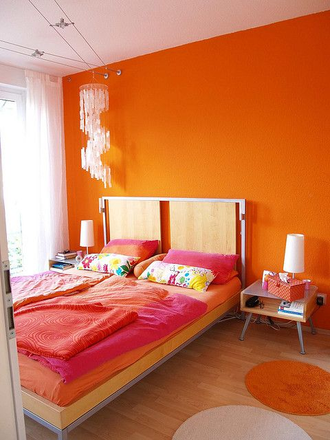 pink and orange bedroom. This is kind of what I want my ...