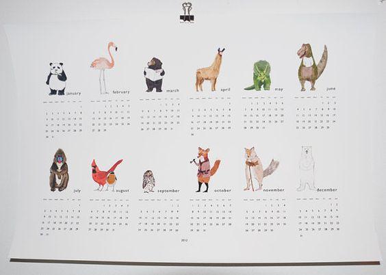 2012 calendar via Where the Lovely Things Are