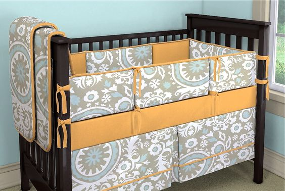 Love the color combo in this custom designed baby bedding...