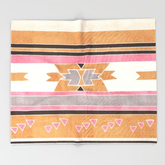 Rustic Tribal Pattern in Raw Sienna, Strawberry and Ash Throw Blanket