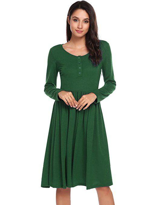 Shoppen Sie ACEVOG Damen Retro Vintage Swing Kleid Langarm ...