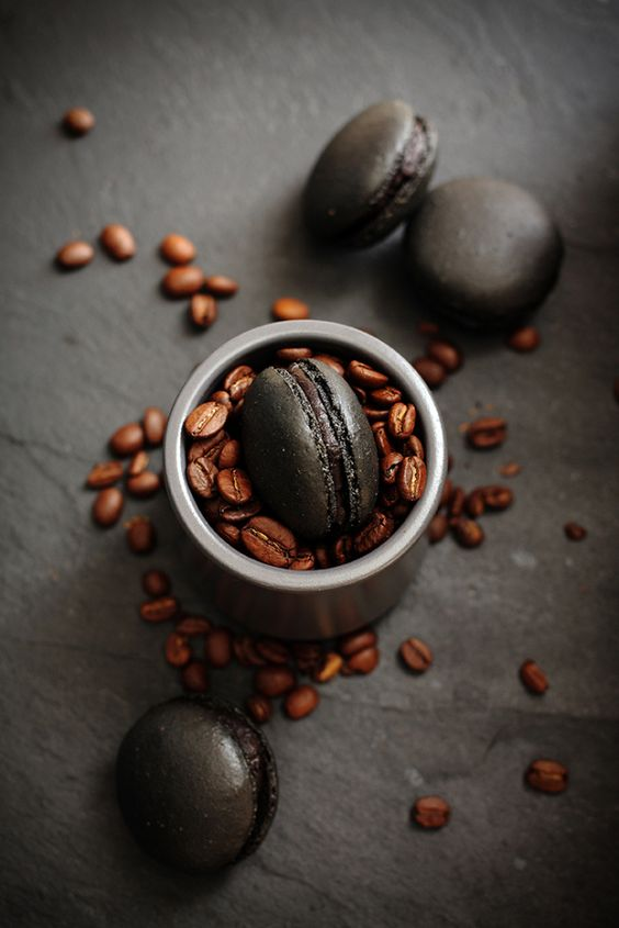 Black coffee macarons recipe