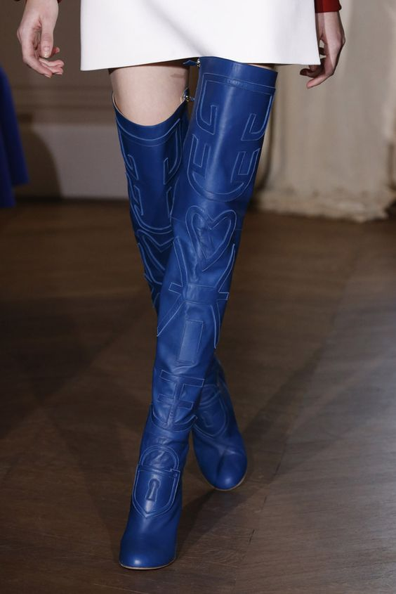 Schiaparelli blue leather thigh boots fashion