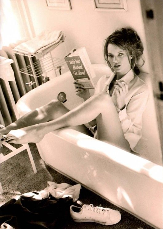 Claw-foot tub and a BOOK!