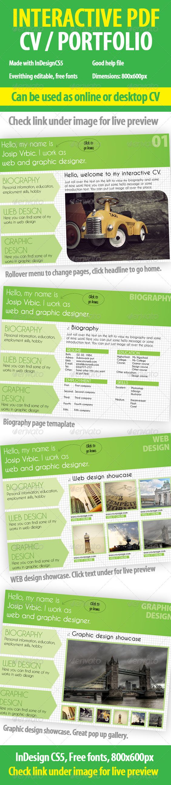 interactive cv    portfolio pdf indesign template
