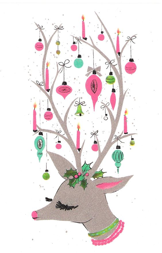 Retro christmas, Reindeer and Christmas cards on Pinterest