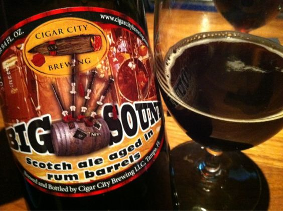 Cigar City Big Sound Scotch Ale. Aged in Rum. Raisins and dark fruit for days. The smell might be flammable.