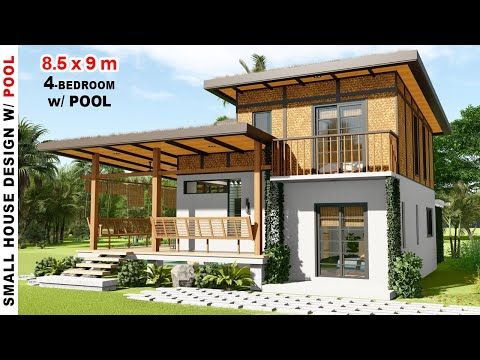 4 Bedroom Small House Design With Small Pool 8 5x9m House Design Under 2 Million Neko Art Y Small House Design Small House Layout Tropical House Design