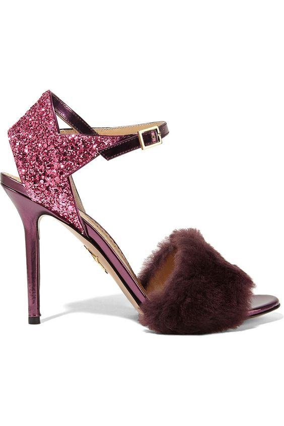 Charlotte Olympia | Capella shearling and glittered metallic leather sandals | NET-A-PORTER.COM