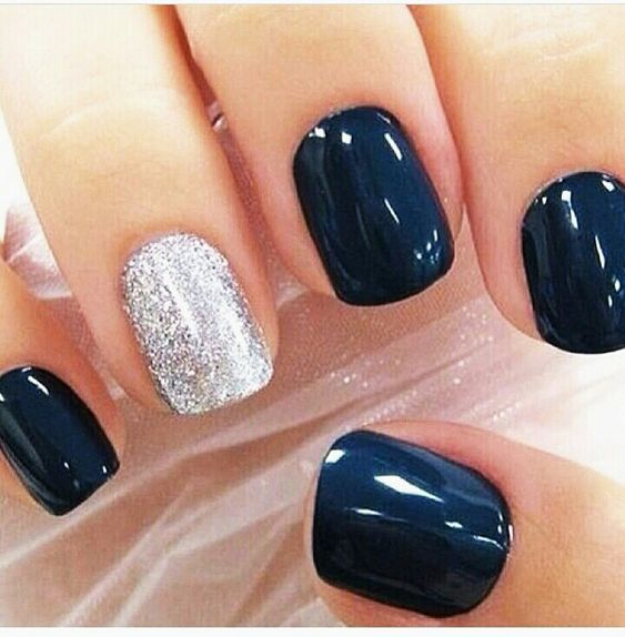Blue navy nails with one silver glitter - bridesmaid look.
