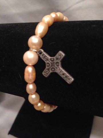 Pearl cross stretchy charm bracelet
