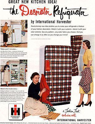 1950s Advertising for the Home-Plaid Fridge/ Home Decor/ Kitchen.  See more PLAID advertising and vintage images from the 1940s & 1950s at the vintage blog www.vintageinn.ca #1950s #vintageblog #Plaid #fridge #kitchen #retro #homedecor #vintagead
