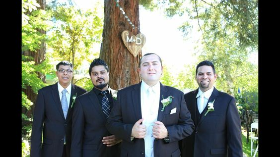 Groom Groomsmen suits The guys wore all the same chocolate brown pin striped suit but different shirts and ties (their choices). My hubby added a ivory paisley vest to his too! #groom suit wedding  m + d  6.29.13  Penny Sylvia Photography