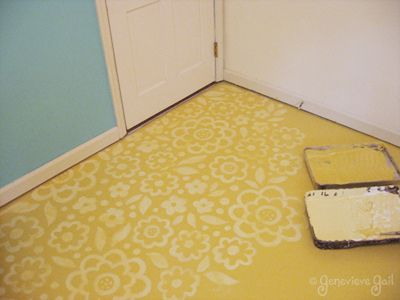 Tone on tone painted/stenciled floor