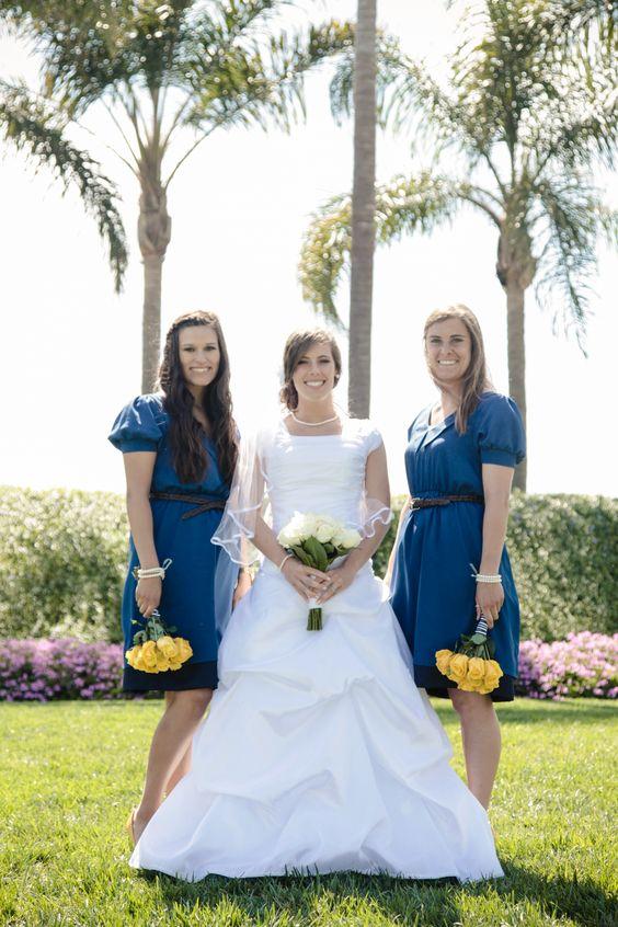 Blue and yellow bridesmaids