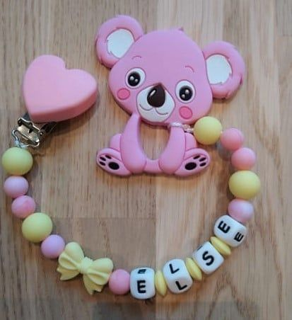 Teddybear Pink Personalised Dummy Clip Baby Hearts Wooden beads Love