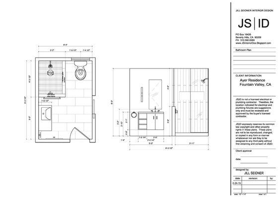 Fountain Valley Ca Residence Bathroom Plan Elevation Drawing Revised Bathroom Remodel