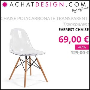 #missbonreduction; 47% de remise sur la CHAISE POLYCARBONATE TRANSPARENT Transparent EVEREST CHAISE chez Achat design. http://www.miss-bon-reduction.fr//details-bon-reduction-Achat-design-i852271-c1828697.html