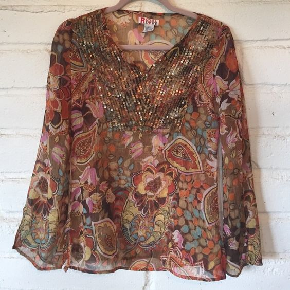 Funky Hippie sheer blouse with gold sequins India This fun blouse is always a head turner and gets tons of compliments! Beautiful bright sheer pattern with gold beads and sequins around the bib. Made in India. Excellent condition! Royal Love Tops Blouses