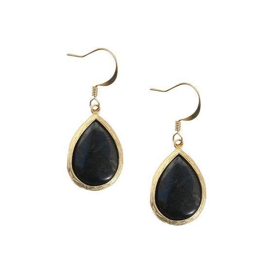 Onyx Fish Hook Earring, Women's