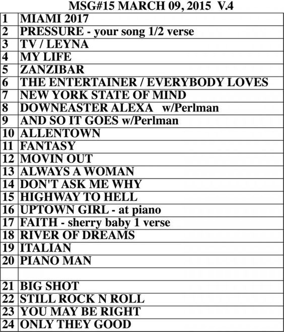Set list from Billy Joel Madison Square Garden New York NY