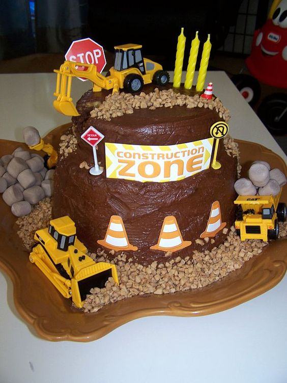 I made this construction cake for my sons 3rd birthday! #parties #construction #bulldozer #boy party #excavator #cake