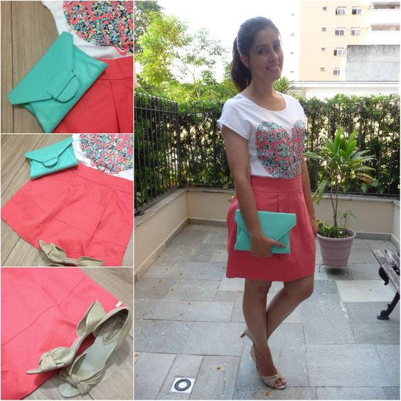 Mint clutch, skirt and blouse. Clutch menta, saia e bllusa com estampa de coração. Link: http://www.elropero.com/2013/12/fashion-set-clutch-menta.html