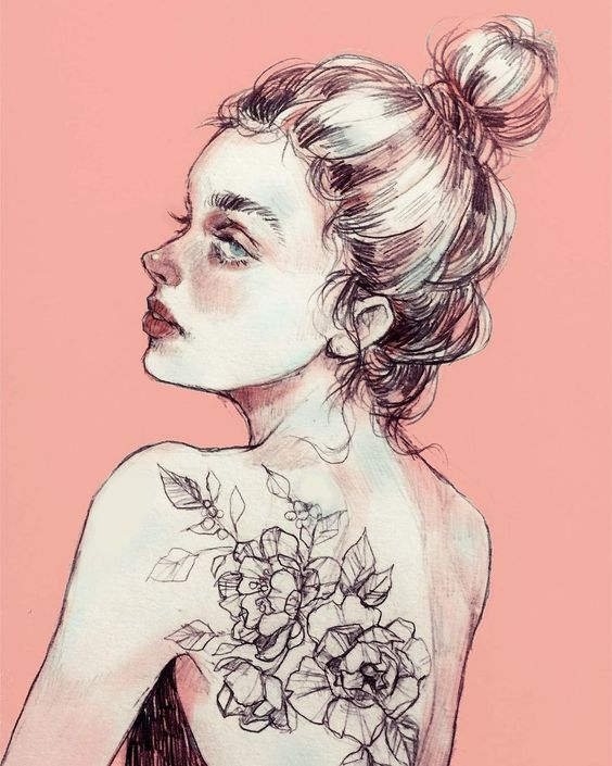 Today's color is 🍑. A quick tattoo study of @zihwa_tattooer 's design for today's #dailysketch. She's got such an amazing eye for floral composition and is such an inspiration to me. 🙇🏻‍♀️..💐: @ron.dadon #pencilsketch #pencildrawing #illustration #aesthetic #onyxkawai #peachtones #art