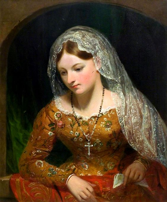 La Palermitana (c.1834). George Clint (English, 1770-1854). Oil on canvas. V&A. A woman from Palermo in local costume. Perhaps she holds a letter from an admirer and she is anxiously awaiting his arrival. Exhibited at the RA in 1834. A unique type of subject in the artist's œuvre but the motif of a woman leaning from a window or balcony is traditional, particularly in Dutch 17th-century painting.