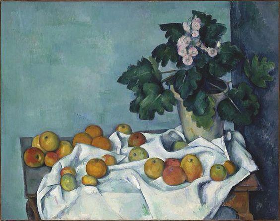 Cezanne, Naturaleza muerta del jarrón y de las frutas (1877)