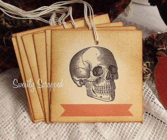 Skull Tags Orange Label Aged Vintage by SweetlyScrappedArt on Etsy, $3.75