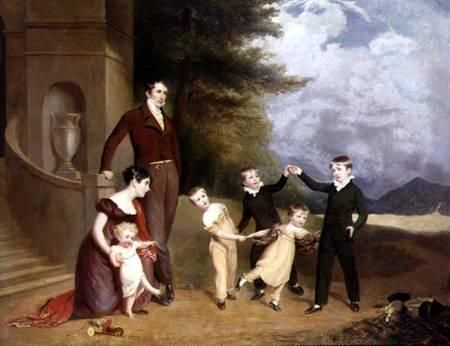 Granville Leveson-Gower, 1. Earl Granville with his wife and their children - England, 1815