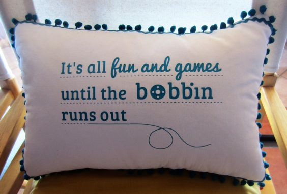 Sewing Truth: It's all fun and games until the bobbin runs out (DIY pillow tutorial)