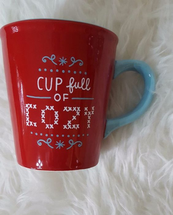 Hallmark Coffee Cup - CUP FULL OF COZY  - Red and Aqua - Great Hallmark Cup